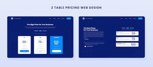 Minimale prijsstelling tabel webdesign instellen Premium Vector