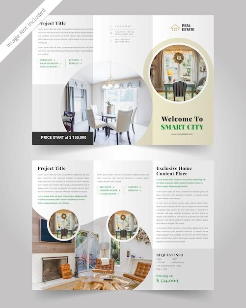 Minimale real-state driebladige brochuremalplaatje Premium Vector