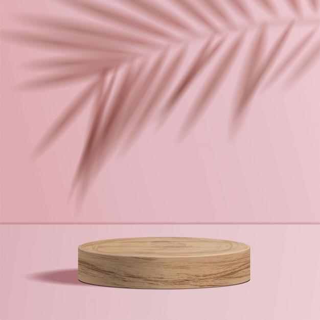 Minimale scène met geometrische vormen. cilinder houten podium op roze achtergrond met schaduwverlof. scène om cosmetisch product te tonen, vitrine, winkelpui, vitrine. 3d-afbeelding. Premium Vector