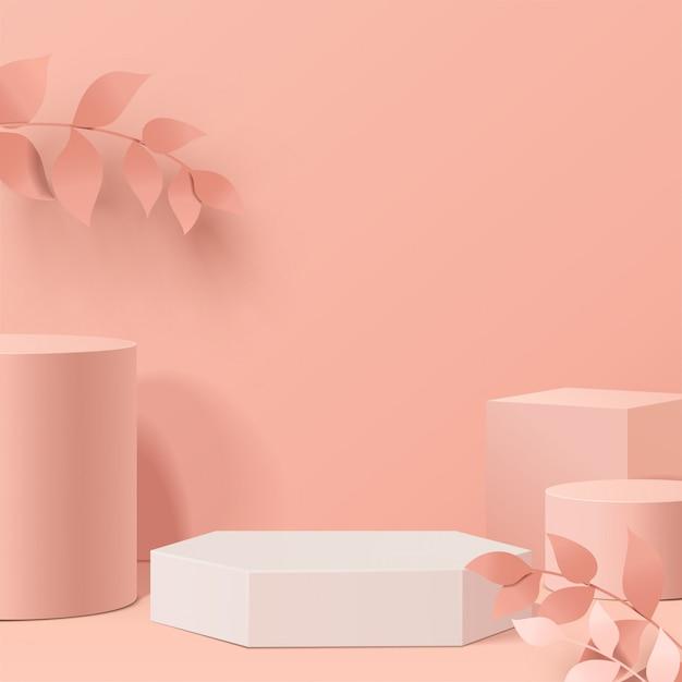 Minimale scène met geometrische vormen. cilinderpodia in bladeren. scène om cosmetisch product te tonen, vitrine, winkelpui, vitrine. 3d-afbeelding. Premium Vector