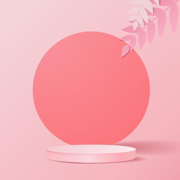 Minimale scène met geometrische vormen. cilinderpodia op roze achtergrond met bladeren. scène om cosmetisch product te tonen, vitrine, winkelpui, vitrine. 3d-afbeelding. Premium Vector