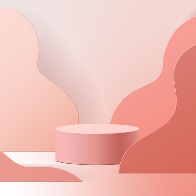 Minimale scène met geometrische vormen. cilinderpodium op roze achtergrond. scène om cosmetisch product te tonen, vitrine, winkelpui, vitrine. 3d-afbeelding. Premium Vector