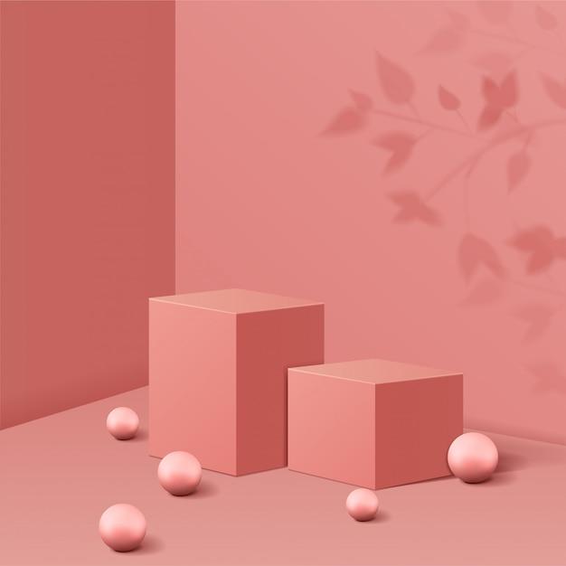 Minimale scène met geometrische vormen. kubus podiums in roze achtergrond met schaduw bladeren en bal. scène om cosmetisch product te tonen, vitrine, winkelpui, vitrine. 3d-afbeelding. Premium Vector