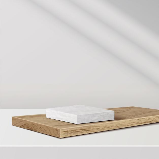 Minimale scène met geometrische vormen. marmeren podium op houten podium met zonlicht op witte achtergrond. scène om cosmetisch product te tonen, vitrine, winkelpui, vitrine. 3d-afbeelding. Premium Vector