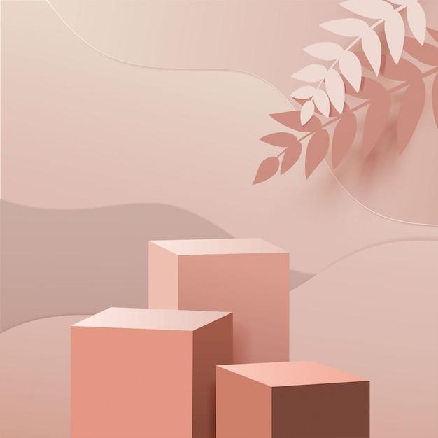 Minimale scène met geometrische vormen. vak kubus podiums in crème achtergrond met papier verlof op kolom. scène om cosmetisch product te tonen, vitrine, winkelpui, vitrine. 3d-afbeelding. Premium Vector