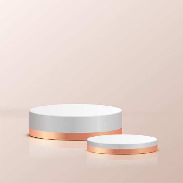 Minimale scène met geometrische vormen. wit en goud cilinder podia metalen materiaal in crème achtergrond. scène om cosmetisch product te tonen, vitrine, winkelpui, vitrine. 3d-afbeelding. Premium Vector