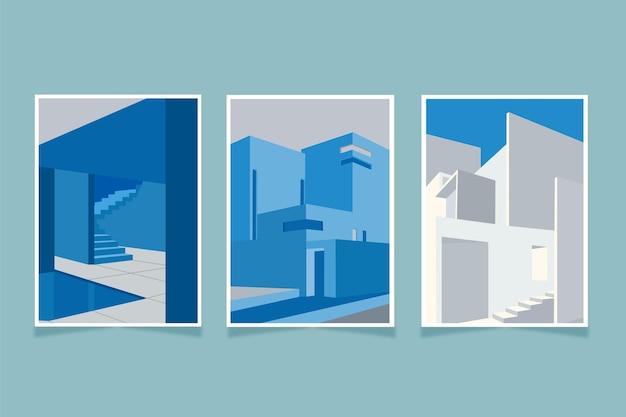 Minimale sjabloonarchitectuur omvat set Gratis Vector