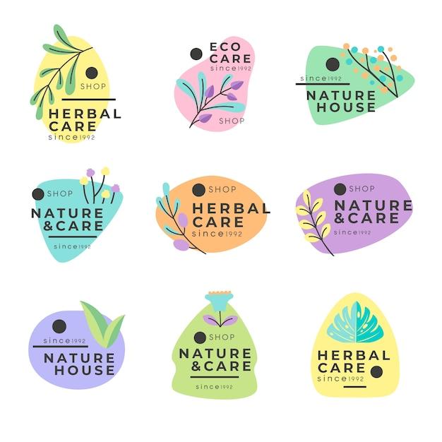 Minimale stijl natuurlijke bedrijfslogo-collectie Gratis Vector