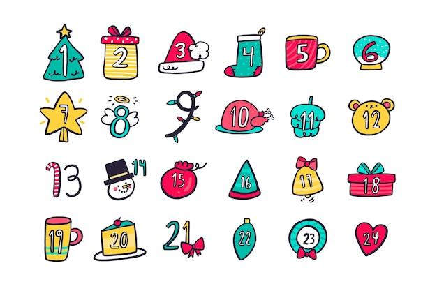 Minimale symbolen countdown kalender voor eerste kerstdag Gratis Vector