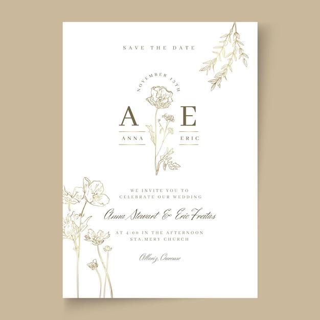 Minimale trouwkaart Gratis Vector
