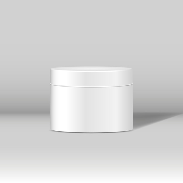 Minimale witte cosmetische jar-mockup Gratis Vector