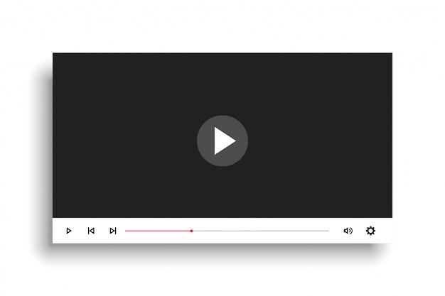 Minimale witte stijl videospeler sjabloonontwerp Gratis Vector