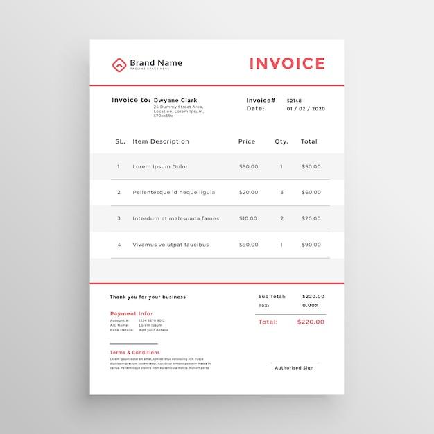 zakelijke factuur Minimale zakelijke factuur sjabloonontwerp Vector | Gratis Download