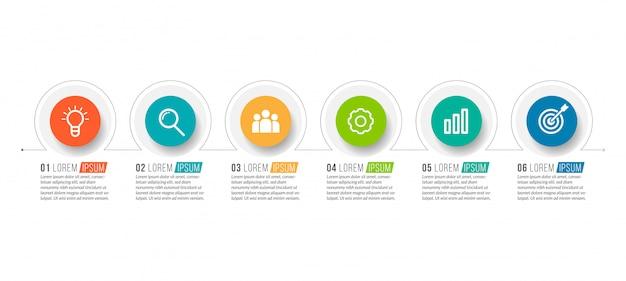 Minimale zakelijke infographics-sjabloon met 6 stappen Premium Vector