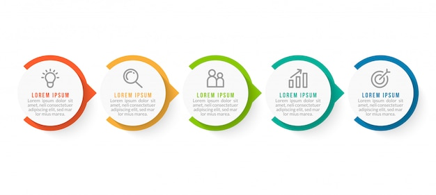 Minimale zakelijke infographics-sjabloon met vijf stappen Premium Vector