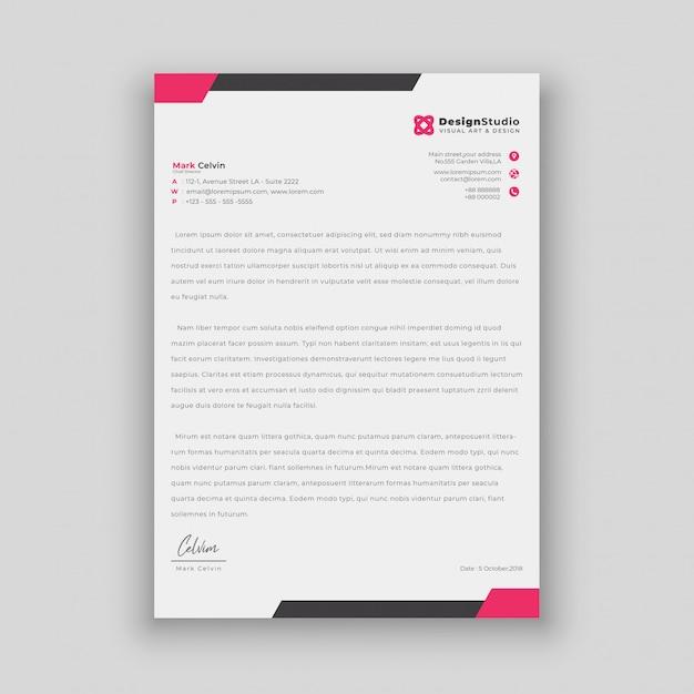 Minimalistisch eenvoudig briefhoofd sjabloonontwerp Premium Vector