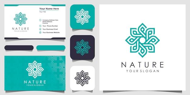 Minimalistisch, elegant bloemenroos-logo met lijnstijl. logo voor schoonheid, cosmetica, yoga en spa. logo en visitekaartje ontwerp. Premium Vector