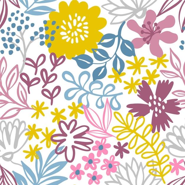 Minimalistisch getekend bloemenpatroonbehang Gratis Vector
