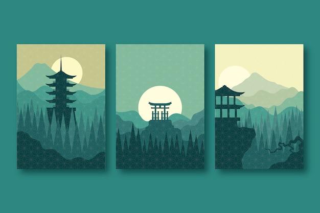Minimalistisch japans cover collection-concept Gratis Vector
