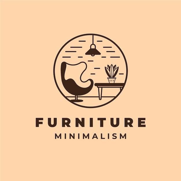 Minimalistisch meubilair logo sjabloon Gratis Vector