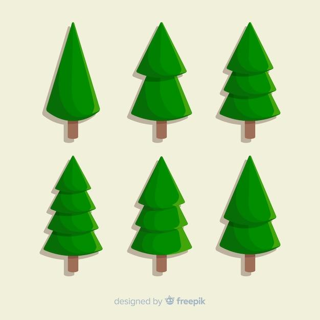 Minimalistisch plat ontwerp van kerstboom Gratis Vector