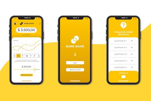 Minimalistische app-interface voor bankieren Gratis Vector
