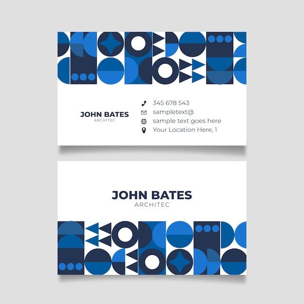 Minimalistische bedrijfskaart met klassieke blauwe vormen Gratis Vector