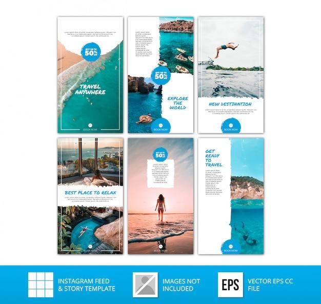 Minimalistische blauwe instagramverhalen reisbundel Premium Vector