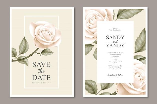 Minimalistische bloemen bruiloft kaartsjabloonontwerp Premium Vector