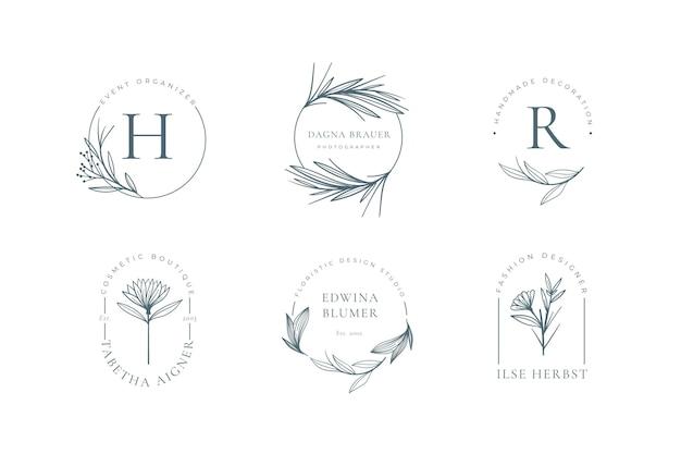 Minimalistische bloemenlogo-collectie Gratis Vector