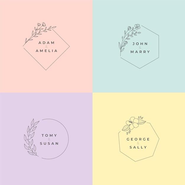 Minimalistische bruiloftmonogrammen in pastel kleuren pack Gratis Vector