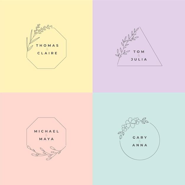 Minimalistische bruiloftmonogrammen in pastelkleurencollectie Gratis Vector
