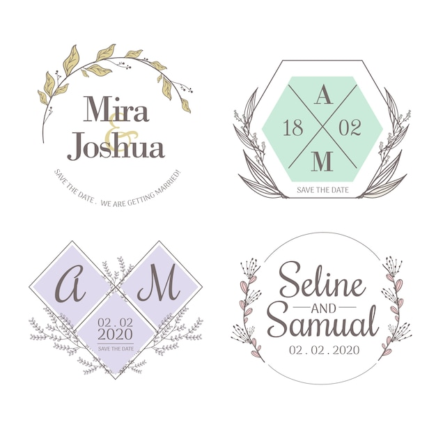 Minimalistische bruiloftmonogrammen in set met pastelkleuren Gratis Vector