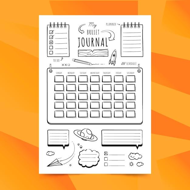 Minimalistische bullet journal planner Gratis Vector