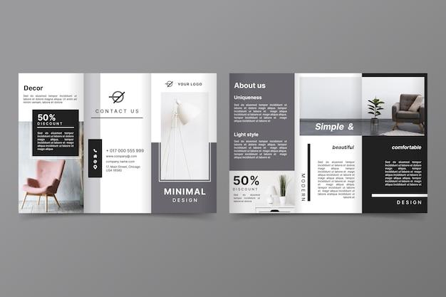 Minimalistische driebladige brochuremalplaatje met foto Gratis Vector