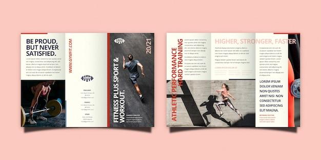 Minimalistische driebladige brochuremalplaatje met voor- en achterkant Gratis Vector