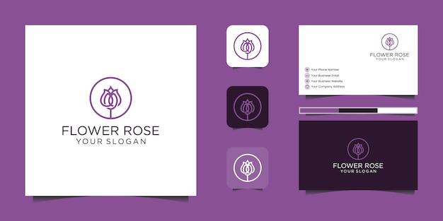 Minimalistische elegante bloem roos lijn kunststijl. luxe schoonheidssalon, mode, cosmetica, yoga en spa-producten. logo ontwerp en visitekaartje Premium Vector
