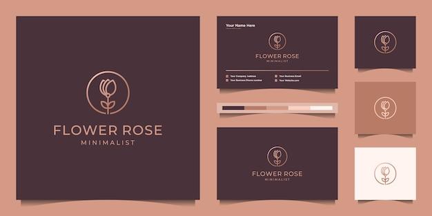 Minimalistische elegante bloem roos lijn kunststijl. luxe schoonheidssalon, mode, huidverzorging, cosmetica, yoga en spa-producten. logo ontwerp en visitekaartje Premium Vector