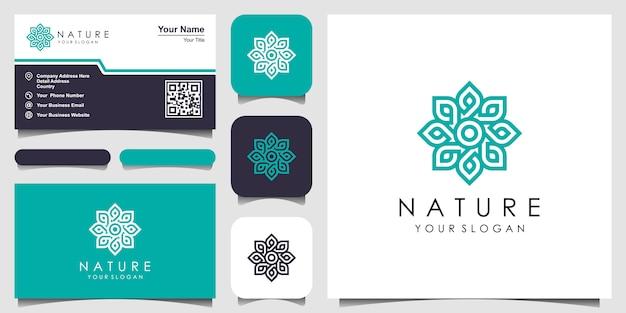 Minimalistische elegante bloemenroos met lijnstijllogo en visitekaartje. logo voor schoonheid, cosmetica, yoga en spa. logo en visitekaartje ontwerp Premium Vector