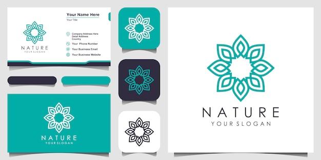 Minimalistische elegante bloemenroos met lijnstijllogo en visitekaartjeontwerp. logo voor schoonheid, cosmetica, yoga en spa. logo en visitekaartje ontwerp Premium Vector