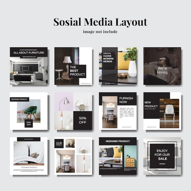 Minimalistische en elegante lay-out voor sociale media Premium Vector