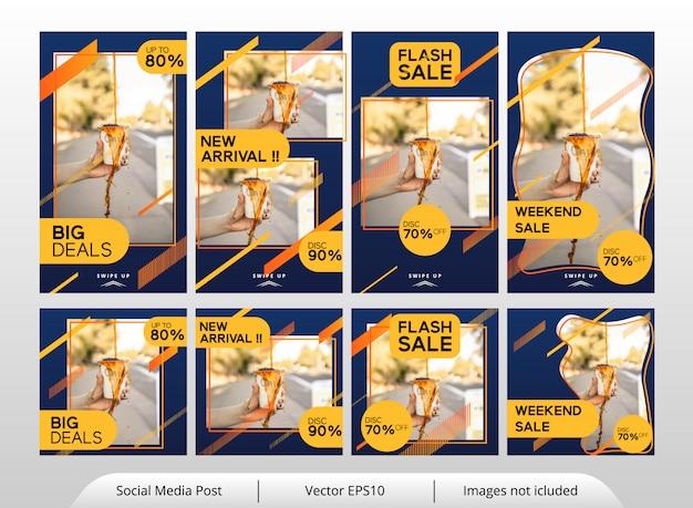Minimalistische gele voedsel banner sjabloon set Premium Vector