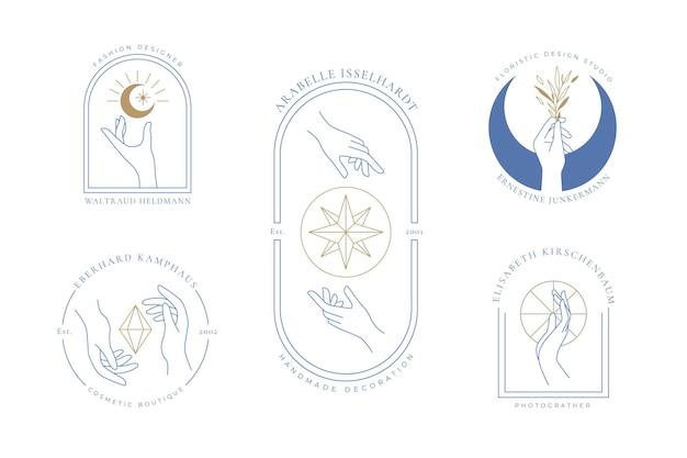 Minimalistische handen logo-collectie Gratis Vector