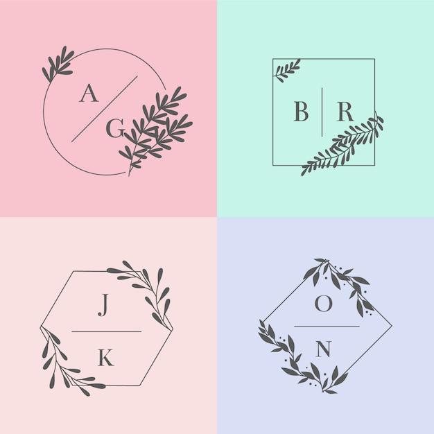 Minimalistische huwelijksmonogrammen in geplaatste pastelkleuren Gratis Vector