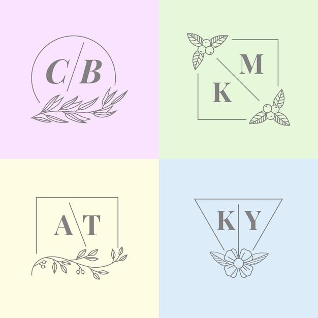 Minimalistische huwelijksmonogrammen in pastelkleuren Gratis Vector