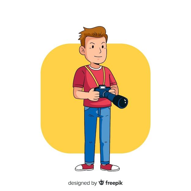 Minimalistische illustratie van fotograaf die werkt Gratis Vector