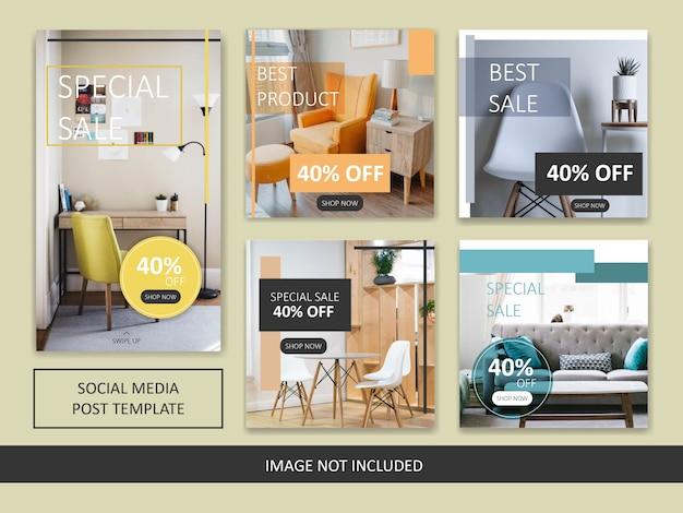 Minimalistische instagram meubels verkoop post sjabloon Premium Vector