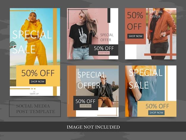 Minimalistische instagram mode verkoop post sjabloon Premium Vector