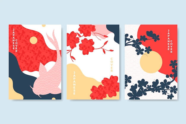 Minimalistische japanse covercollectie Gratis Vector
