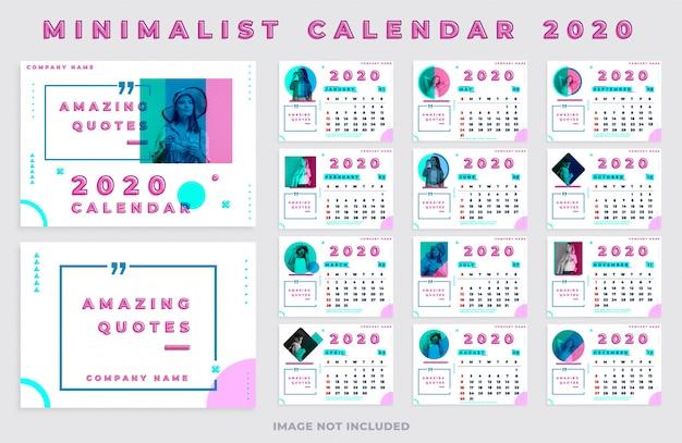 Minimalistische kalender 2020 landschap met foto en citaten Premium Vector